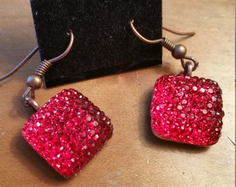 Glamour Glitter Red or Pink Earrings Copper Tone Base Gem Earrings