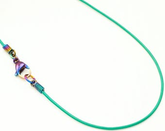 Handmade 1.4mm Leather Neck Cord Necklace with Hypo Allergenic Niobium Cord Ends and Titanium Lobster Clasp