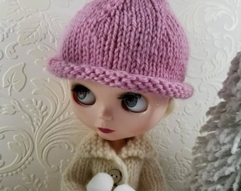 Pink Wool Gnome Hat, Hand Knit Hat for Blythe Doll