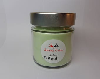 Lime scented soy vegetable wax.