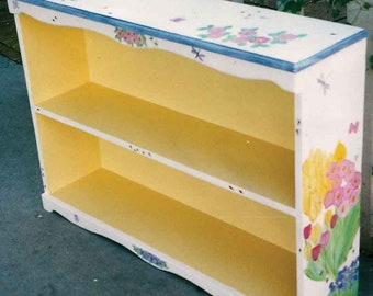 bookcase hand painted bookcase, custom painted furniture, flower bookcase, wood bookcase, book shelves