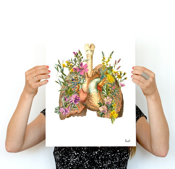 Human Lungs with wild flowers, anatomy art, wall art, wall decor, poster, anatomy, anatomy poster, science, medical student gift SKA099WA3