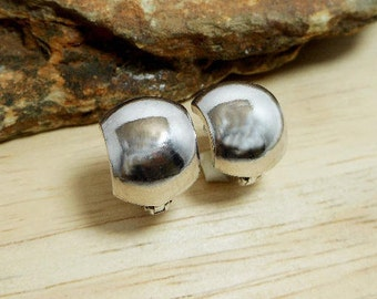 Nice 11mm Wide Silver Dome Hoop Earrings With Spring Leverback,Huggies Earring,Pierce Earring,Hoop Earring,Personalized Gifts,Gifts For Her