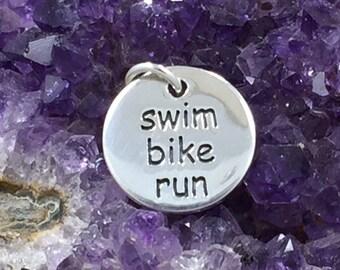 Swim Bike Run Charm, Triathlete Charm, Triathlon Charm. Athlete Charm, Exercise Charm, PS01285