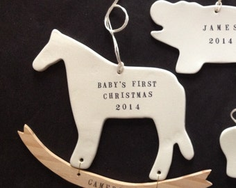 baby's first christmas ornament rocking horse dala decoration personalized words, name in ceramic, wood by Paloma's Nest