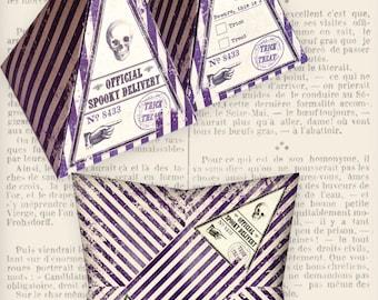 Halloween Delivery pyramid box vintage printable images instant download digital collage sheet VDBXHA0975