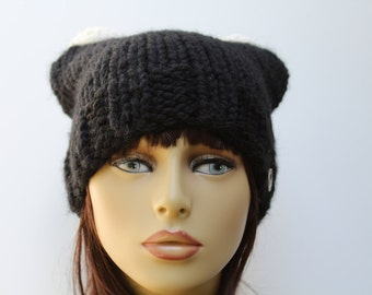 Beanie Hat, Black Hat, Black Cat Hat, Knitted Beanie Hat, Black Knit Cat Hat, Black Knit Beanie, Adult Knit Hat