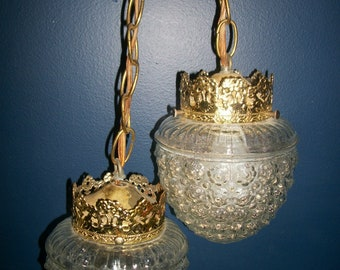 Vintage Double Swag Light with Acorn Textured Shades