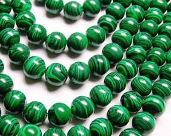 Malachite - 10 mm round beads -1 full strand - 40 beads - Reconstituted