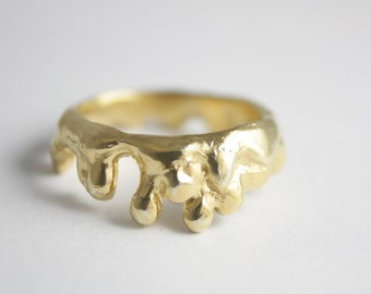 Sterling silver melt ring, gold ring, silver ring, statement ring, stacking, melting ring, drop ring, ring, summer, jewelry, women, gift