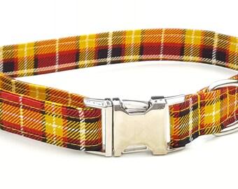 Dog Collar - Red and Orange Plaid Check Dog Collar