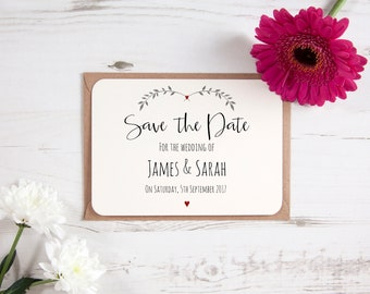Personalised Red Ivy Design Save The Date Cards Natural Vintage Rustic