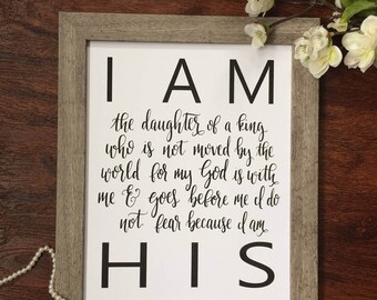 """Hand-lettered print """"I am His daughter"""" INSTANT DOWNLOAD PDF"""