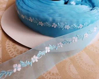 "BLUE Sheer Floral Trim - Crafting Ribbon - 1"" Wide - 14 Yards - LAST OF Spool"