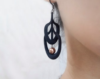 Black 3d printed Earrings with Copper Bead | 3d printed jewelry | Petal Earrings in Black