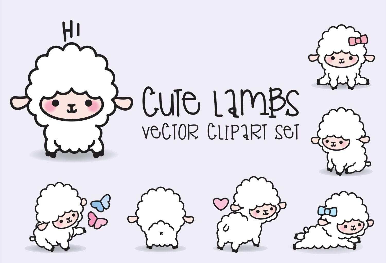 Premium Vector Clipart Kawaii Lambs Cute Lamb Clipart Set for Baby Lamb Clipart  34eri