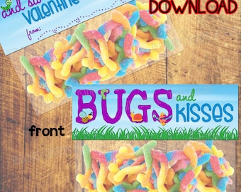 Bugs and Kisses Valentines Day Favor Printable (Valentine's Day Party, DIY,Instant Download,Boy,Girl,Kid,Child,Bugs,Kisses,Candy,Toy,School)