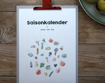 Seasonal calendar for fruit, vegetables and salad