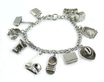 1940's Sterling Silver Charm Bracelet - 11 Charms - 3D Charms, Movable, Unique Charms - 1939 World's Fair Traditional Charms for Bracelet