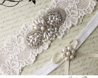 Ivory Lace Bridal garter Set, Lace Wedding Garter Set, Ivory Bridal Garter, Ivory Wedding Garter, Personalized Garter, Pearl Garter