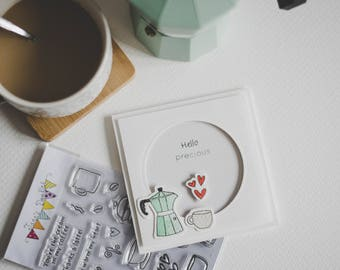 Hello precious card, coffee lover card, handmade, stamped card, love card, valentines, for her, for him, perfect gift