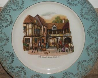 2 x Light Blue Brindley Old Coach house Plates, York and Broadhurst Plates, English Collectible Plates, Fine Bone China Decorative Plates