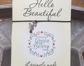 "Ballerina charm String Bracelet on ""Hello Beautiful"" quote card madebygreenberry wish bracelet"