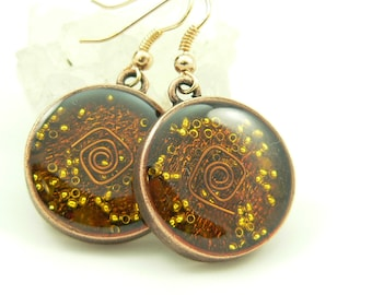 Orgone Energy Earrings - Positive Energy Generator - Dangle Earrings - Orange Carnelian Gemstone in Copper - Artisan Jewelry