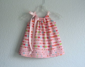 Baby Girls Pink Dress & Bloomers Outfit - Pink Sun Dress with Colorful Flags - Baby Girls Pillowcase Dress - Size Nb, 3m, 6m, 9m, 12m or 18m