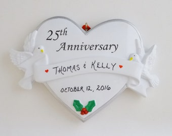 25th Wedding Anniversary Personalized Ornament - 25th Anniversary Christmas Ornament
