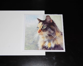 Long Hair Torti Feline Watercolor 5x5 Notecard with Envelope