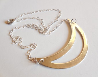 Chain necklace and large moon 925 sterling Silver