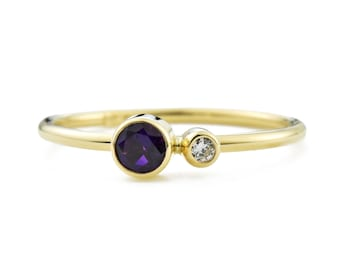 Amethyst Birthstone Ring, 14K Gold Amethyst and Canadian Diamond Ring, Gift for Her, February Birthstone