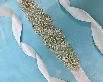 Bridal Applique Sash, Wedding Applique Sash, Wedding Applique Belt, Rhinestone Applique Belt,Bridal Sash Belt, Wedding Sash Belt