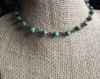 Tree agate choker necklace