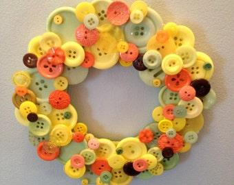Cheery Yellow Spring Button Wreath