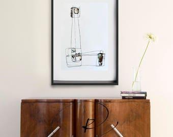 Original large abstract painting, minimalist abstract, line art, contemporary abstract, minimalist abstract art painting, ink art painting