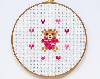 For You Cross Stitch Pattern, Valentine's Day Cross Stitch Chart, Teddy Bear Fast Easy Cross Stitch Gift, PDF Format, Instant Download