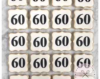 60th Birthday Decorated Cookies - One Dozen