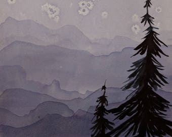 Landscape with Trees --  Original Watercolor