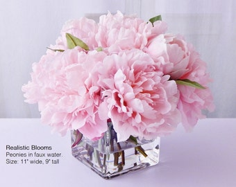 Light pink/blush, silk, peony/peonies, glass vase, faux water, acrylic/illusion, Real Touch flowers, floral arrangement, centerpiece, gift