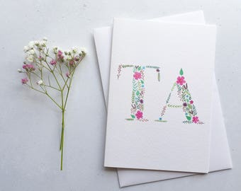 Ta Card / Thank You Card/ A6 Greeting Card / Watercolour Painting / Floral