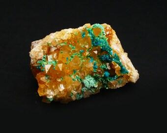 Spangolite Mex Tex Mine New Mexico - Spangolite with Citrine - Rare Mineral Specimen