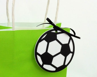 Soccer Ball Gift Tags. Round football shape with white background, black or red. Soccer party, football party, tween teen boy girl.