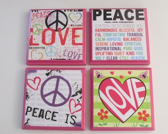 Girl's Room  Peace and Love Wall Plaques - Set of 4 - Peace Love Girls Room Decor - Peace Wall Signs - Love Heart Wall Decor