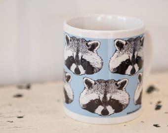Raccoon Print Mug - gift for teacher, children, kids, dad - animal mug - animal print - illustrated mug - fun - tea mug - coffee mug