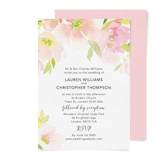 Watercolor wedding invitation template, Simple wedding invitation set, Calligraphy wedding invitation, Engagement invites, Blush Peach Pink