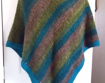 Poncho - Olive Green, Teal and Gray