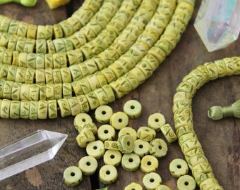 Carved Bone Beads : Yellow Green Tribal Heishi Discs, 10x4mm, Large Hole Bohemian Yoga Jewelry Making Supplies, Boho Mala Spacers, 45 pieces