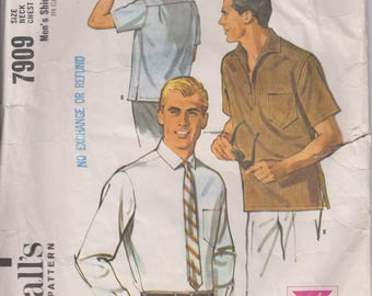 "Vintage 60s Men's Sewing Pattern Shirt Dress or Casual Back Yoke Plaquett or Button Front Size Small Chest 34-36"" (86-91 cm) McCall's 7909 S"